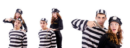 The police and prison inmate on white Stock Image