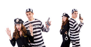 The police and prison inmate on white Royalty Free Stock Photography