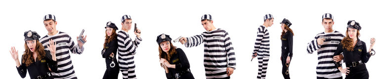 The police and prison inmate on white Stock Photos