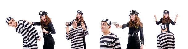 The police and prison inmate on white Royalty Free Stock Photos