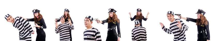 The police and prison inmate on white Royalty Free Stock Photo