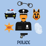 Police profession flat icons and symbols Stock Photography