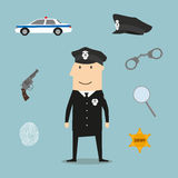 Police profession icons and symbols Stock Image