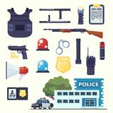 Police professional equipment set. Handcuffs, bulletproof vest, electroshocker, truncheon, badge, weapons, station, car and other Stock Images