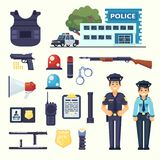 Police professional equipment set. Handcuffs, bulletproof vest, electroshocker, truncheon, badge, weapons, station, car and other Stock Image