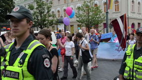 Police protect gay event stock video