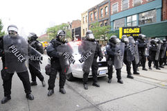 Police protecting entrance. royalty free stock photography