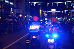Police protects RTL Christmas Parade in Brussels Royalty Free Stock Photography