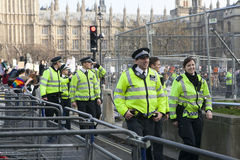Police on the protest March Royalty Free Stock Images