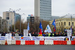 Police protests in Bucharest, Romania Royalty Free Stock Image