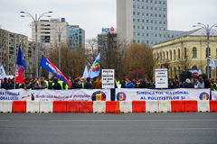 Police protests in Bucharest, Romania Royalty Free Stock Photos