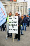 Police protests message in Bucharest, Romania Stock Photography