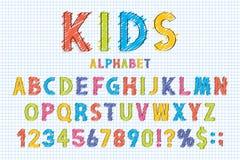 Police puérile et alphabet dans le style d'école Crayonnez les griffonnages stylisés dans l'alphabet anglais avec des nombres illustration libre de droits