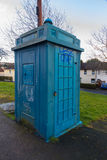 Police Public Call Box, nicknamed The Newport Tardis. Old derelict disused police public call box. Newport, Wales, United Kingdom stock photo