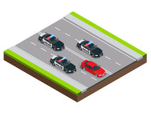 Police in pursuit of a criminal with a stolen car or drunk driving, speeding. Isometric Police Chase illustration. Concept. Law enforcement speeding after Stock Photos