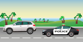 Police pursuit on a road. Police job concept. Police car with flashing lights pursues the offender. Flat style vector illustration Royalty Free Stock Photos