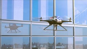 Police Quadcopter Patrols along the Office Building