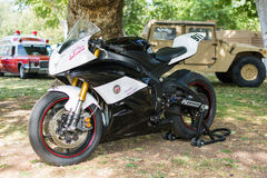 Police racing motocycle on display Stock Photography