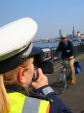 Police, Radar,Speed Check Royalty Free Stock Photos