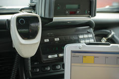 Police Radio Mic in Car. Close-up of police radio mic in police cruiser.  Horizontal format Royalty Free Stock Images
