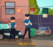Police Raid Cartoon Composition. Police profession composition of cartoon urban scenery and two human characters of police workers in uniform vector illustration Royalty Free Stock Photos