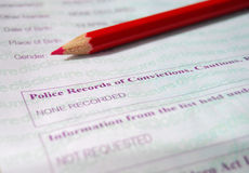 Police record. Certificate and red pencil Stock Photography