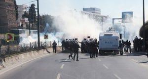 POLICE RELEASED IN KURDISH FEAST NEWROZ,ISTANBUL. ISTANBUL - MARCH 18: Turkish police released gas bomb in Newroz in Topkapi, Istanbul. Kurds celebrating their Stock Photo