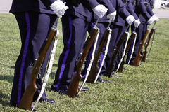 Police Rifle Team Honor Guard at 9 11 Ceremony. A shot of the Kannapolis Police Department Rifle Honor Guard at parade rest during the 9 11 10th anniversary Royalty Free Stock Images