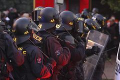 Police riot on demonstration Stock Photos