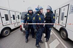 Police in Riot Gear Stock Photo