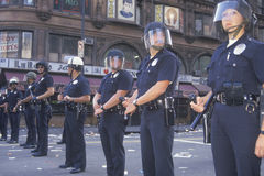 Police in riot gear,. Downtown Los Angeles, California Stock Image