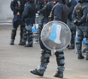 Police in riot gear during the anti-terrorism control Stock Images