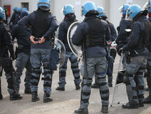 Police in riot gear during the anti-terrorism control Royalty Free Stock Image