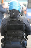 Police in riot gear during the anti-terrorism control Stock Image