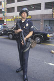 Police in riot gear holding weapon. Downtown Los Angeles, California Stock Photos