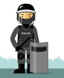 Police riot officer in uniform Royalty Free Stock Image