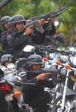 Police riot simulation. Police officer take action in a riot simulation in solo, central java, indonesia Stock Photo