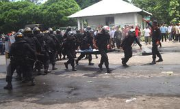 Police riot simulation. Police officer take action in a riot simulation in solo, central java, indonesia Stock Image