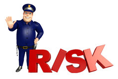 Police with Risk sign Royalty Free Stock Photography
