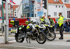 Police road block. BERGEN / NORWAY June 25, 2016. Norway crown family visit to Bergen. Security Royalty Free Stock Photography