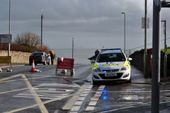 Police road block Swanage stabilisation works Royalty Free Stock Image