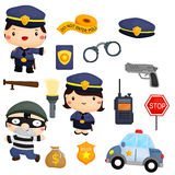 Police and robber vector set Royalty Free Stock Photography