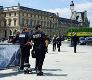 Police on Roller Skates in Paris , France Royalty Free Stock Images