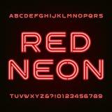 Police rouge d'alphabet de tube au néon Dactylographiez les lettres et les nombres Photo libre de droits