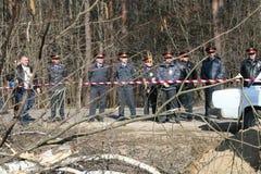 Police russe sur la protestation des écologistes dans la forêt de Khimki Image libre de droits