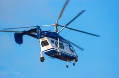 Police Russian helicopter in sky Royalty Free Stock Image