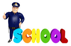 Police with School sign. 3d rendered illustration of Police with School sign Stock Photos