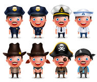 Police, seafarers, captain, sheriff, cowgirl and pirates vector character set Royalty Free Stock Photo