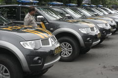 POLICE SECURITY ALERT ELECTION IN SUKOHARJO. Police patrol cars lined up neatly and alert during a ceremony for the security of general elections in Sukoharjo Royalty Free Stock Image