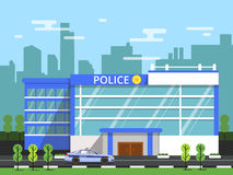 Police or security department. Exterior of municipal building. Vector illustration in flat style stock illustration